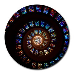 Stained Glass Spiral Circle Pattern Round Mousepads