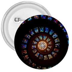 Stained Glass Spiral Circle Pattern 3  Buttons by BangZart