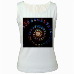 Stained Glass Spiral Circle Pattern Women s White Tank Top