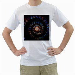 Stained Glass Spiral Circle Pattern Men s T Shirt (white) (two Sided)