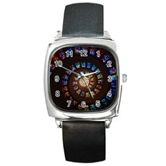 Stained Glass Spiral Circle Pattern Square Metal Watch