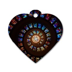 Stained Glass Spiral Circle Pattern Dog Tag Heart (one Side) by BangZart