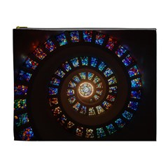 Stained Glass Spiral Circle Pattern Cosmetic Bag (xl)