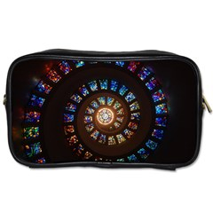 Stained Glass Spiral Circle Pattern Toiletries Bags by BangZart