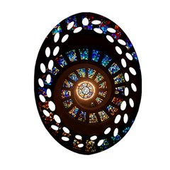Stained Glass Spiral Circle Pattern Ornament (oval Filigree)