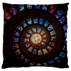 Stained Glass Spiral Circle Pattern Large Cushion Case (one Side) by BangZart