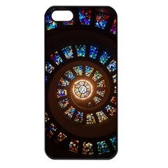 Stained Glass Spiral Circle Pattern Apple Iphone 5 Seamless Case (black)