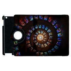 Stained Glass Spiral Circle Pattern Apple Ipad 3/4 Flip 360 Case