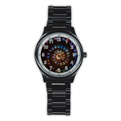 Stained Glass Spiral Circle Pattern Stainless Steel Round Watch by BangZart