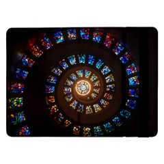 Stained Glass Spiral Circle Pattern Samsung Galaxy Tab Pro 12 2  Flip Case by BangZart