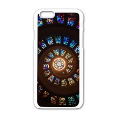 Stained Glass Spiral Circle Pattern Apple Iphone 6/6s White Enamel Case