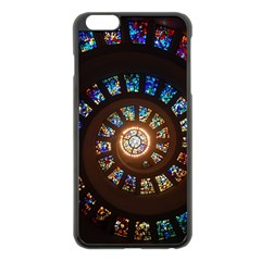 Stained Glass Spiral Circle Pattern Apple Iphone 6 Plus/6s Plus Black Enamel Case