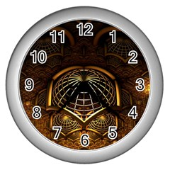 Fractal 3d Render Design Backdrop Wall Clocks (silver)