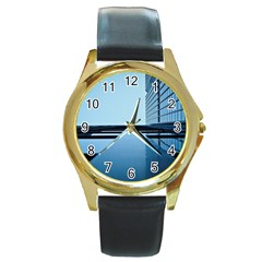Architecture Modern Building Facade Round Gold Metal Watch by BangZart