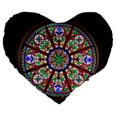 Church Window Window Rosette Large 19  Premium Flano Heart Shape Cushions by BangZart