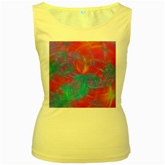Abstract Fantastic Fractal Gradient Women s Yellow Tank Top