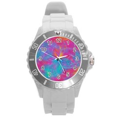 Abstract Fantastic Fractal Gradient Round Plastic Sport Watch (l)
