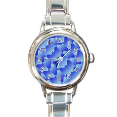 Gradient Blue Pinstripes Lines Round Italian Charm Watch