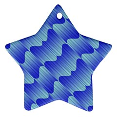 Gradient Blue Pinstripes Lines Ornament (star)