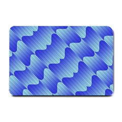 Gradient Blue Pinstripes Lines Small Doormat