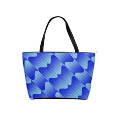 Gradient Blue Pinstripes Lines Shoulder Handbags