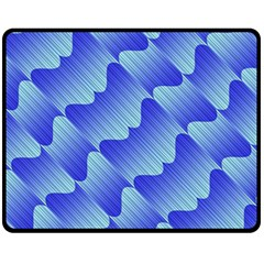 Gradient Blue Pinstripes Lines Fleece Blanket (medium)