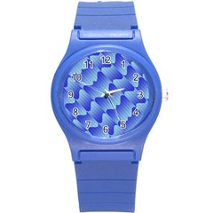 Gradient Blue Pinstripes Lines Round Plastic Sport Watch (s) by BangZart