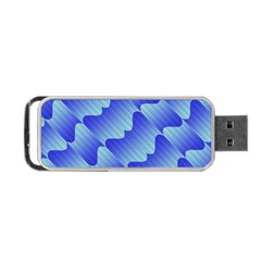 Gradient Blue Pinstripes Lines Portable Usb Flash (one Side)