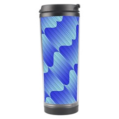 Gradient Blue Pinstripes Lines Travel Tumbler