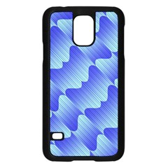 Gradient Blue Pinstripes Lines Samsung Galaxy S5 Case (black)