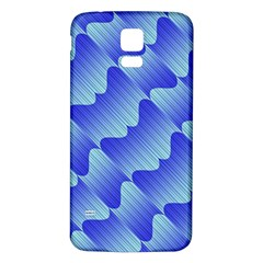 Gradient Blue Pinstripes Lines Samsung Galaxy S5 Back Case (white)