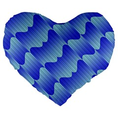 Gradient Blue Pinstripes Lines Large 19  Premium Flano Heart Shape Cushions