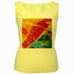 Painting Watercolor Wax Stains Red Women s Yellow Tank Top