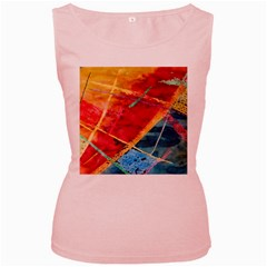 Painting Watercolor Wax Stains Red Women s Pink Tank Top