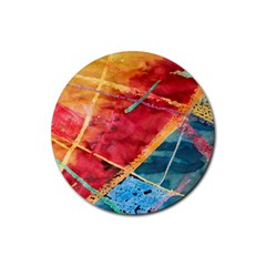 Painting Watercolor Wax Stains Red Rubber Coaster (round)  by BangZart