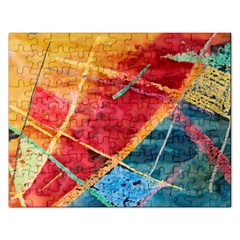 Painting Watercolor Wax Stains Red Rectangular Jigsaw Puzzl by BangZart