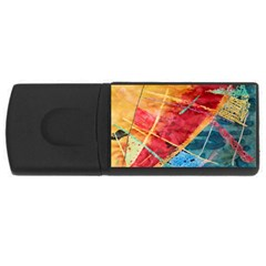 Painting Watercolor Wax Stains Red Rectangular Usb Flash Drive