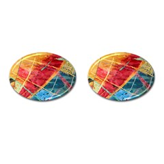 Painting Watercolor Wax Stains Red Cufflinks (oval)