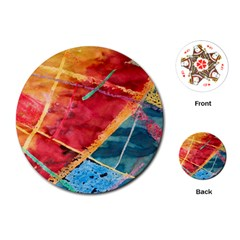 Painting Watercolor Wax Stains Red Playing Cards (round)  by BangZart