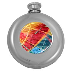 Painting Watercolor Wax Stains Red Round Hip Flask (5 Oz)