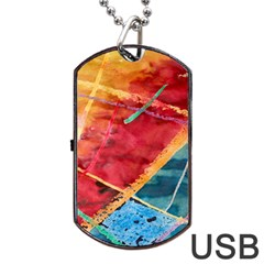 Painting Watercolor Wax Stains Red Dog Tag Usb Flash (two Sides)