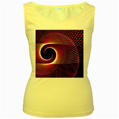 Grid Bent Vibration Ease Bend Women s Yellow Tank Top
