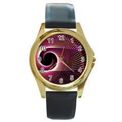 Grid Bent Vibration Ease Bend Round Gold Metal Watch