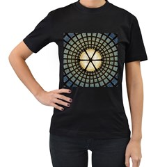 Stained Glass Colorful Glass Women s T Shirt (black) (two Sided)