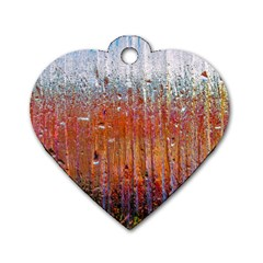 Glass Colorful Abstract Background Dog Tag Heart (two Sides)