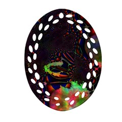 The Fourth Dimension Fractal Oval Filigree Ornament (two Sides) by BangZart