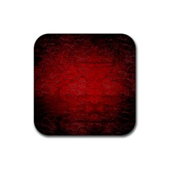 Red Grunge Texture Black Gradient Rubber Square Coaster (4 Pack)