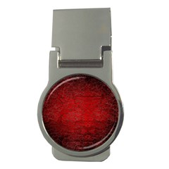 Red Grunge Texture Black Gradient Money Clips (round)