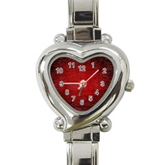 Red Grunge Texture Black Gradient Heart Italian Charm Watch
