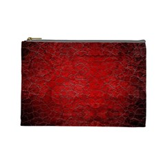 Red Grunge Texture Black Gradient Cosmetic Bag (large)